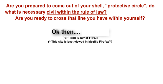 "Are you prepared to come out of your shell, ""protective circle"", do what is necessary civil within the rule of law? 