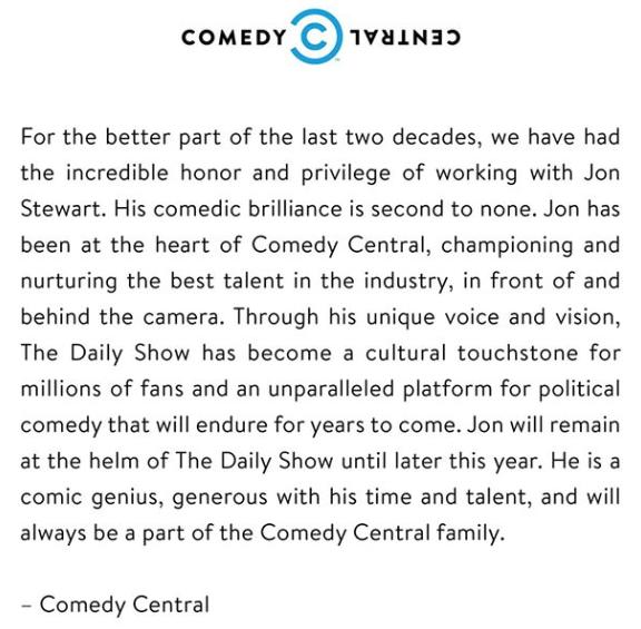 Comedy Central Jon Stewart retiring