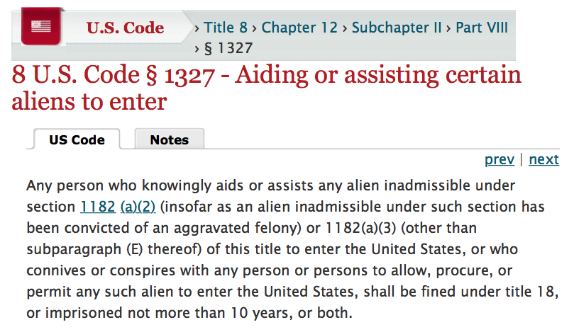 US Code 8 1327 Aiding aliens