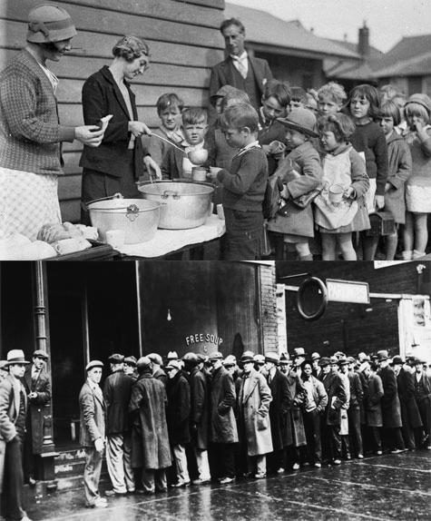 Great Depression Men & Children Food Lines